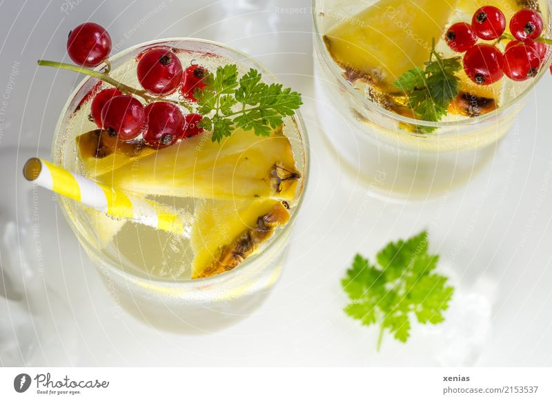 Kühles Erfrischungsgetränk mit Ananas, Johannisbeeren und Kerbel Frucht Kräuter & Gewürze Eiswürfel Getränk Trinkwasser Limonade Glas Trinkhalm