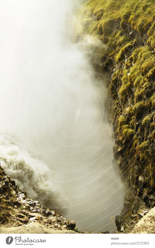 Gullfoss Umwelt Natur Landschaft Urelemente Wasser Klima Schönes Wetter Nebel Felsen Berge u. Gebirge Schlucht Wasserfall außergewöhnlich gigantisch wild Dunst
