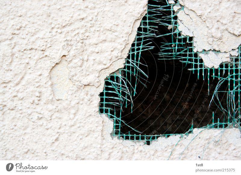 systemfehler Mauer Wand Fassade kaputt erfurt-ilmenau Loch Zerstörung Netzwerk Gitternetz Putz grün Außenaufnahme Muster Strukturen & Formen Textfreiraum links
