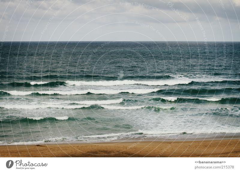 atlantic Ferien & Urlaub & Reisen Sommer Strand Meer Atlantik Wasser Meerwasser Wellen Sand Horizont Ferne Farbfoto Außenaufnahme Textfreiraum oben Tag