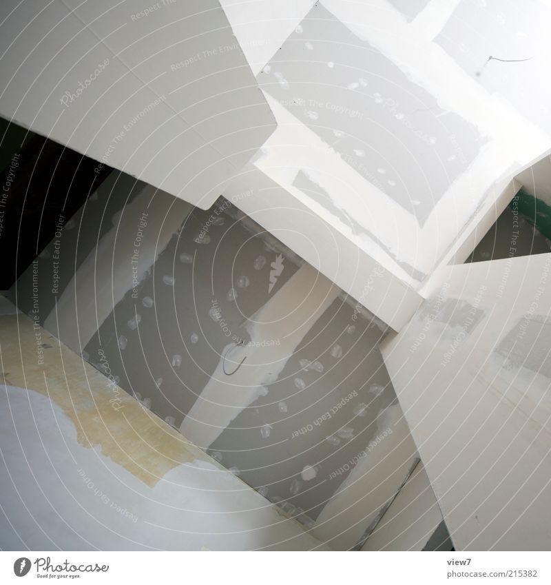 trocken gebaut weiß Haus Wand Mauer Linie Fassade Ordnung ästhetisch Perspektive authentisch Häusliches Leben Streifen Baustelle einfach rein dünn