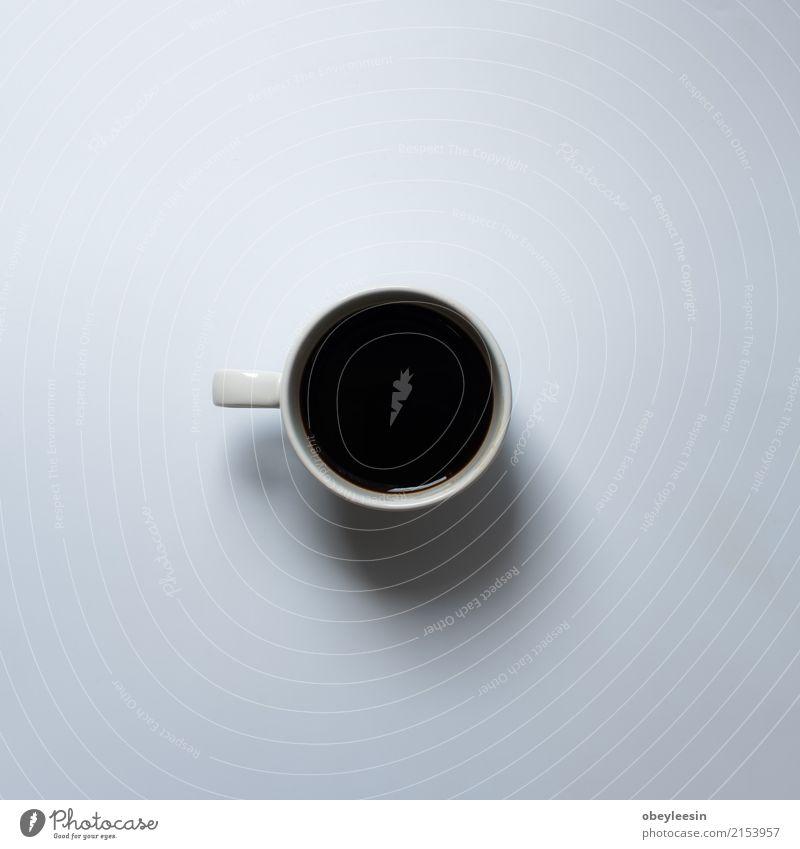 Tasse Kaffee für den Morgen, Frühstück Getränk Espresso Teller Design Wege & Pfade Fluggerät frisch heiß hell oben Sauberkeit braun grau weiß Farbe Becher