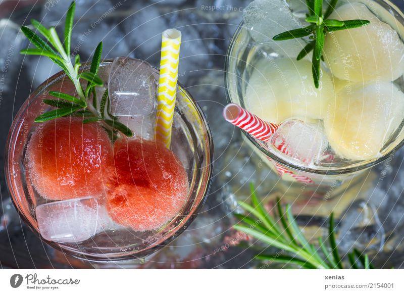 Zwei Gläser Erfrischungsgetränk mit Honig- und Wassermelone, Rosmarin, Eiswürfel und Trinkhalm Getränk Frucht Kräuter & Gewürze Honigmelone Kugel Bioprodukte