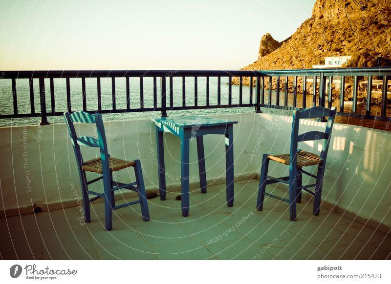 wie ich schon immer wohnen wollte Meer blau Sommer Strand Ferien & Urlaub & Reisen ruhig Ferne Erholung Küste leer Insel Aussicht Schönes Wetter Terrasse Geländer harmonisch
