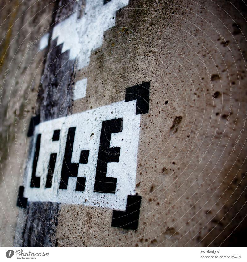 I **** it Kultur Jugendkultur Subkultur Menschenleer Bauwerk Fassade hässlich schwarz weiß Graffiti Grafik u. Illustration Bild Kunst Kunstwerk Buchstaben Wort
