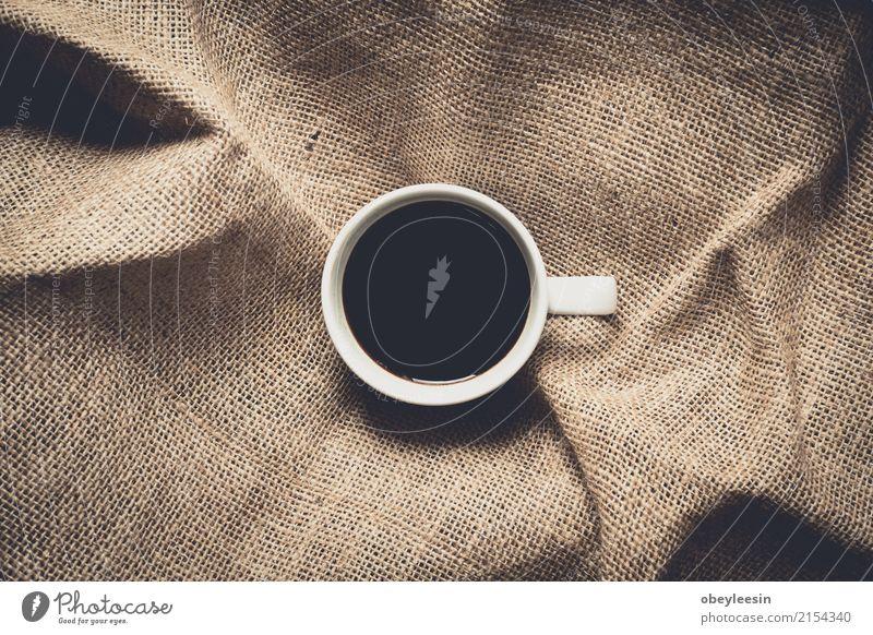 Tasse Kaffee für den Morgen Frühstück Getränk Espresso Teller Design Wege & Pfade Fluggerät frisch heiß hell oben Sauberkeit braun grau weiß Farbe Air