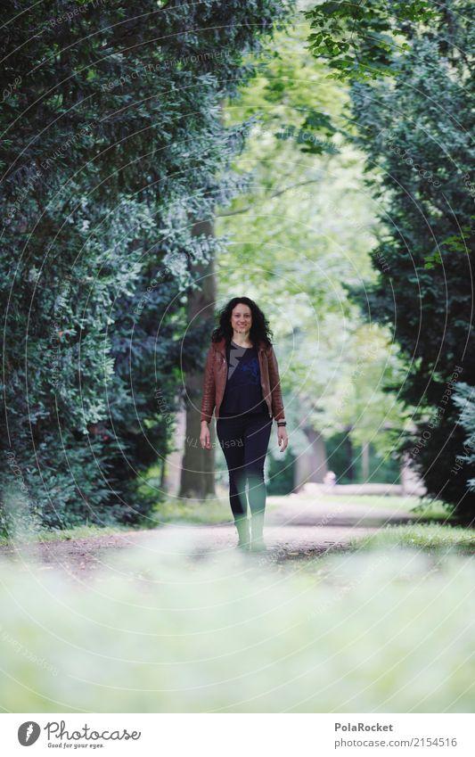 #A# Going Forward Mensch feminin 1 ästhetisch laufen Spaziergang grün Park Model Modellfigur Frau Lederjacke Sommer Außenaufnahme Farbfoto Gedeckte Farben