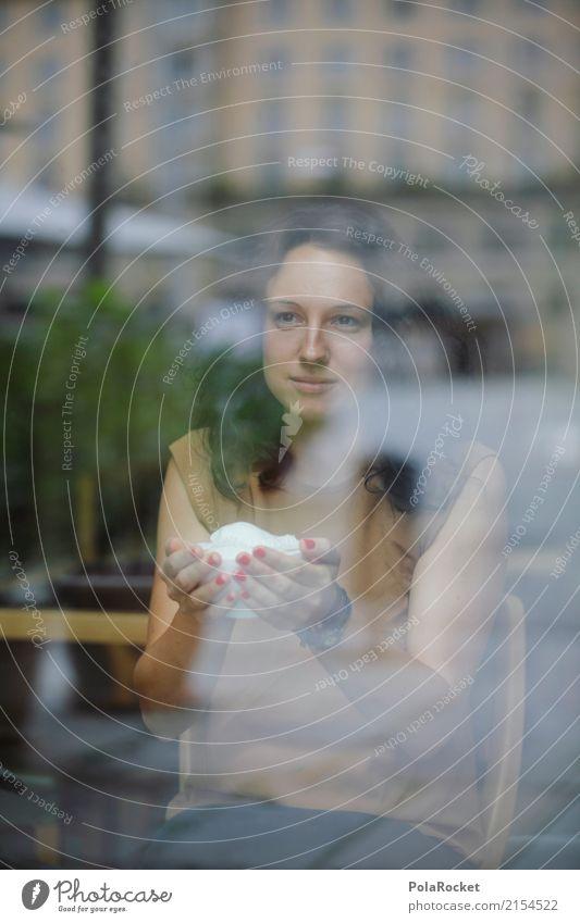 #A# Cafe mit Ausblick Mensch feminin 1 ästhetisch Café Restaurant Kaffee Kaffeetrinken Kaffeetasse Kaffeepause Fenster Perspektive Blick Farbfoto mehrfarbig