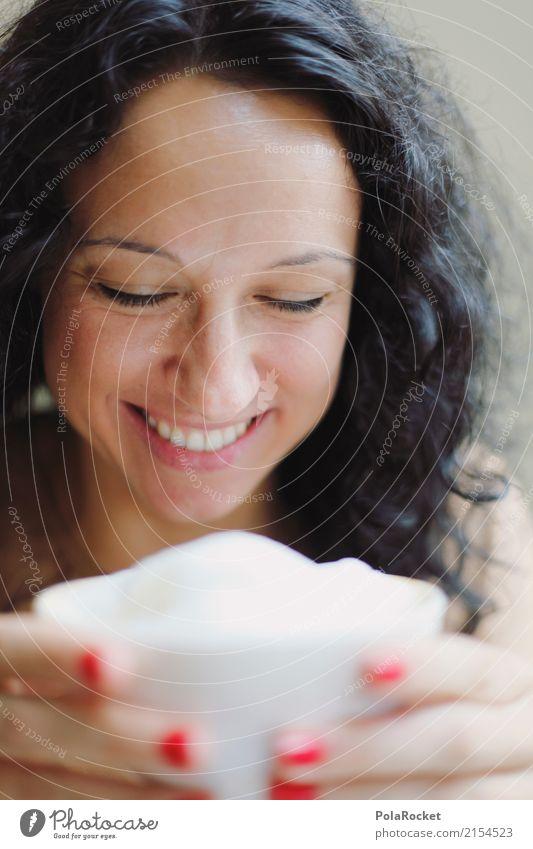 #A# Funny Moment Kunst ästhetisch Frau lachen Lächeln lustig Freude spaßig Kaffee Freundlichkeit Junge Frau Farbfoto Gedeckte Farben Innenaufnahme