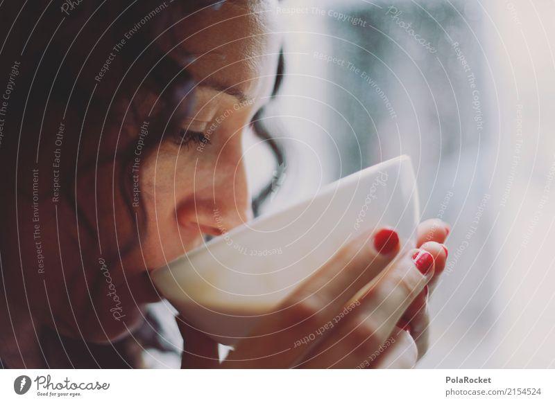#A# Der Duft von Kaffee Kunst ästhetisch Kaffeetrinken Kaffeetasse Kaffeepause Frau Morgen Pause verträumt ruhig Konzentration wach Farbfoto Gedeckte Farben