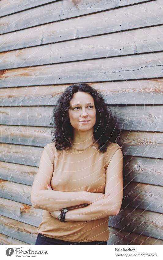 #A5# Selbstbewusste Frau angelehnt an Wand aus Holz Mensch feminin 1 ästhetisch selbstbewußt bewerben Erscheinung Karriere Beruf Zukunft Zukunftsorientiert