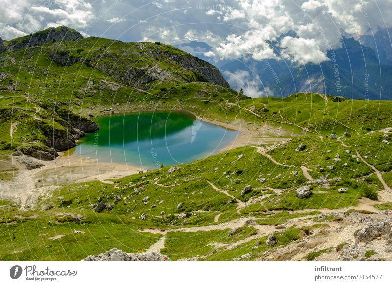Dolomiten Lago Coldai Ferien & Urlaub & Reisen Abenteuer Sommer Berge u. Gebirge wandern Natur Landschaft Wasser Hügel Alpen See natürlich wild blau grün türkis