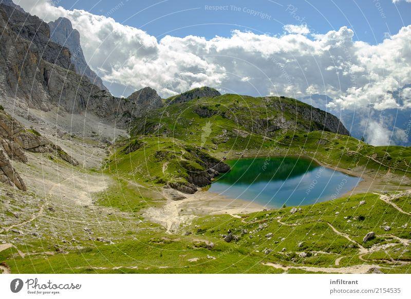 Dolomiten, Lago Coldai Natur Ferien & Urlaub & Reisen blau Sommer schön grün Wasser Landschaft ruhig Ferne Berge u. Gebirge Umwelt Freiheit grau See Stimmung