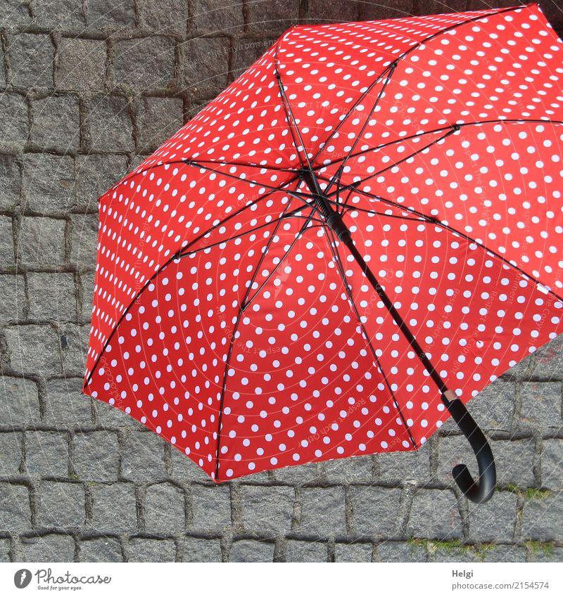 AST 10 | Tanzpause Platz Pflastersteine Regenschirm Punkt Stein liegen schön grau rot schwarz weiß Schutz einzigartig Griff gespannt offen Farbfoto mehrfarbig