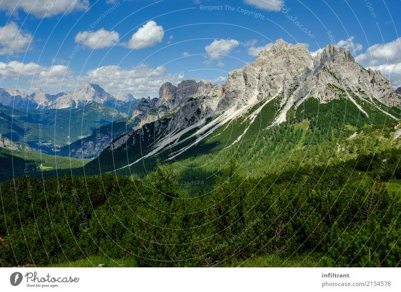 In den Dolomiten Ferien & Urlaub & Reisen Ausflug Abenteuer Ferne Freiheit Berge u. Gebirge wandern Landschaft Himmel Wolken Sträucher Wiese Wald Hügel Felsen