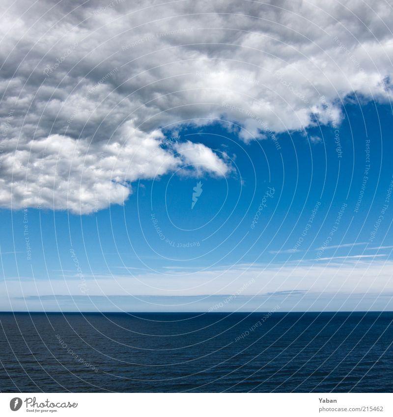 Wind of change Sommer Meer Luft Wasser Himmel Wolken Gewitterwolken Horizont Schönes Wetter schlechtes Wetter Nordsee kalt blau Natur Farbfoto Außenaufnahme