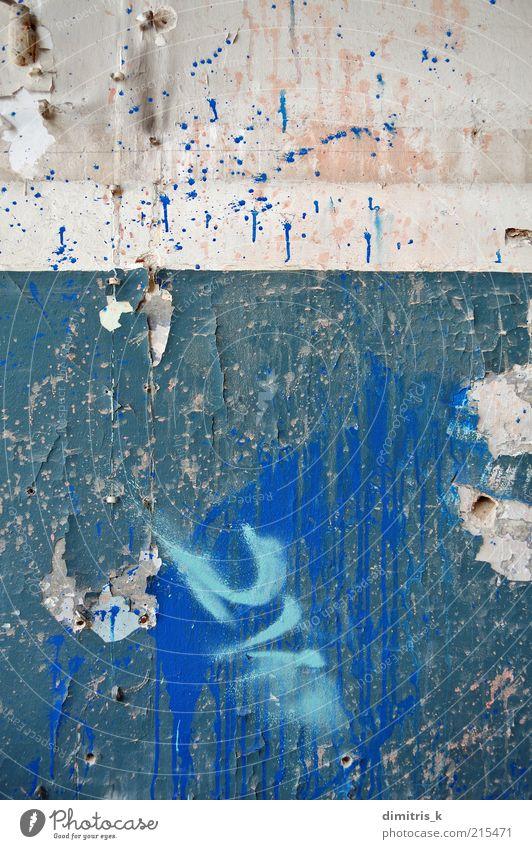 Schälwand Ruine Gebäude Architektur Mauer Wand alt dreckig blau Farbe Verfall Hintergrundbild Konsistenz texturiert künstlerisch abgeplatzt abblättern Riss