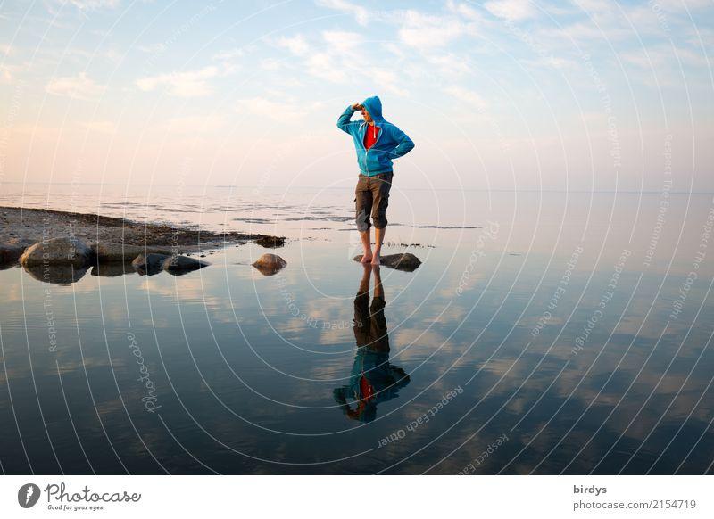 Schauinsland Mensch Himmel Natur Mann blau Wasser weiß rot Wolken ruhig Erwachsene Frühling Küste Freizeit & Hobby Horizont maskulin