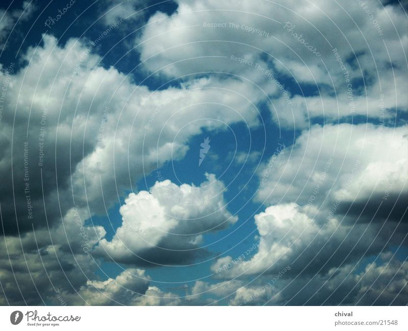 Wolken weiß Kumulus Himmel Sonne blau