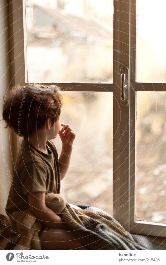 am Fenster Mensch Kind Haus Junge träumen Denken maskulin geschlossen beobachten Sehnsucht Kindheit nachdenklich Kreuz Wohnung Decke
