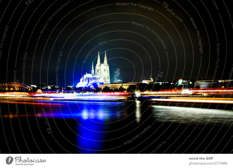 Cologne City Lights - Kölner Lichter Stadt Gebäude Architektur Deutschland Verkehr Europa Brücke Kirche Skyline Veranstaltung Denkmal Bauwerk Verkehrswege