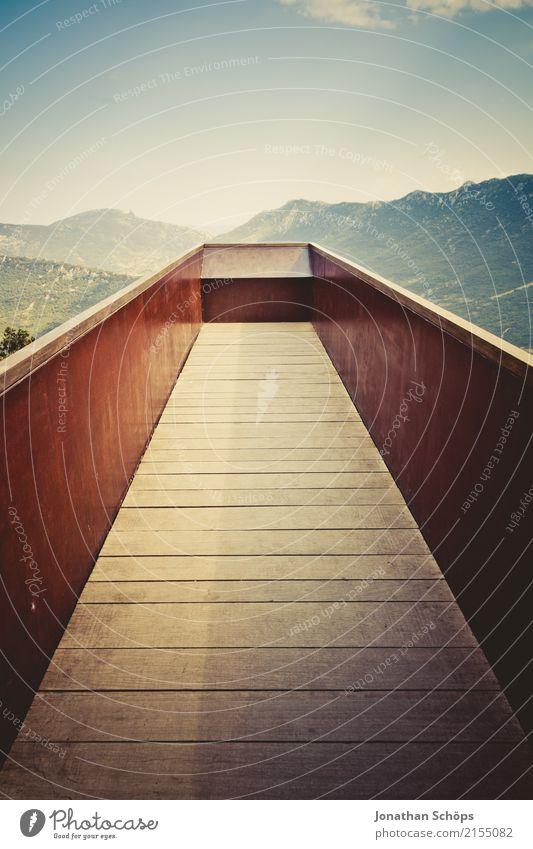 *** 1200 *** Ausblick, überragend Himmel Ferien & Urlaub & Reisen Landschaft Ferne Berge u. Gebirge Reisefotografie Holz Zufriedenheit Horizont Metall wandern
