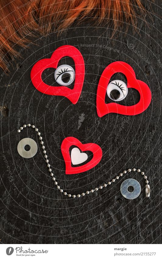 Emotionen...coole Gesichter: Auf Liebe eingestellt! Frau Mensch rot Erwachsene feminin braun