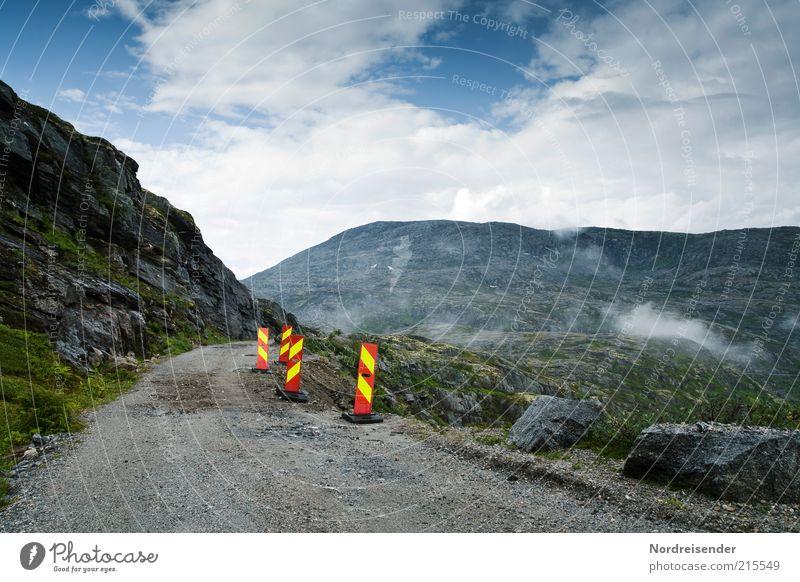 Straßenschäden Lifestyle Ferien & Urlaub & Reisen Ausflug Ferne Freiheit Berge u. Gebirge Baustelle Natur Landschaft Wolken Klima Felsen Schlucht Verkehr