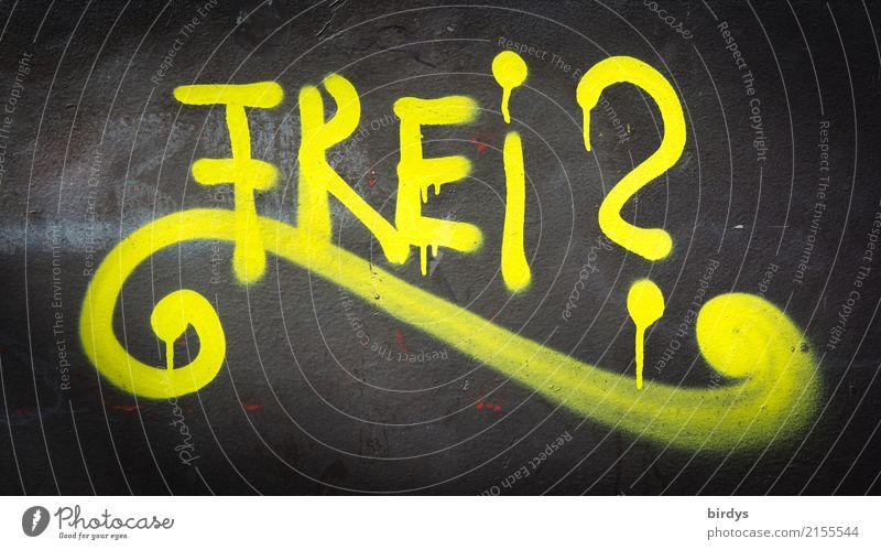Gute Frage schwarz gelb Graffiti Gefühle Freiheit frei Schriftzeichen Hoffnung Zukunftsangst Sehnsucht Überraschung Irritation Gesellschaft (Soziologie) Sorge