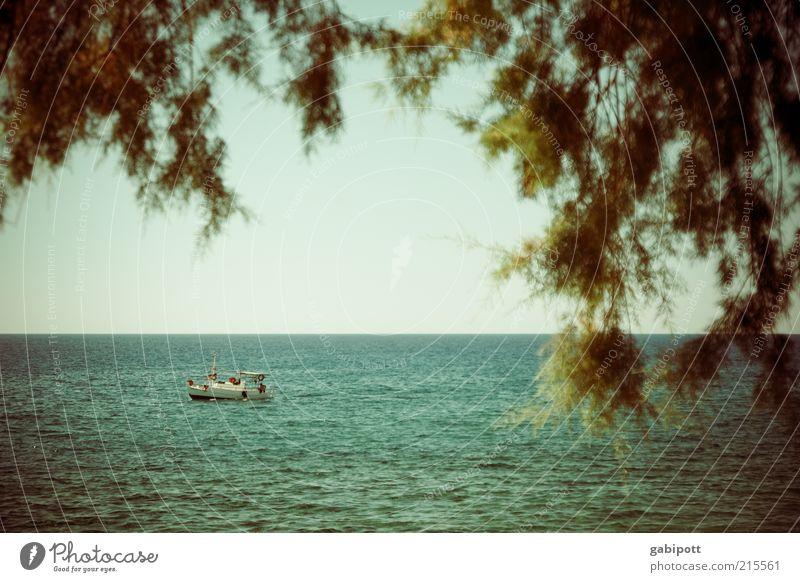 Postkarte Sommer Ferien & Urlaub & Reisen Meer ruhig Ferne Erholung Wasserfahrzeug Ausflug Insel Tourismus Sommerurlaub Im Wasser treiben Kreta Wasseroberfläche