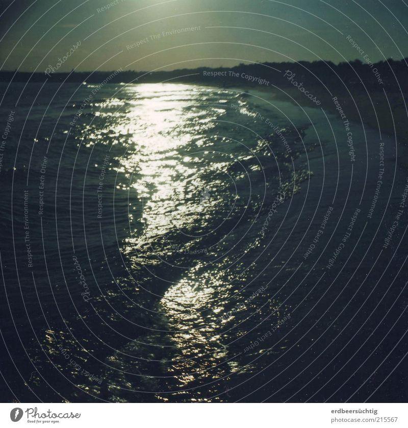 Meeresrauschen im Abendlicht Natur Wasser blau Sommer Strand Ferien & Urlaub & Reisen ruhig Ferne dunkel Erholung Freiheit Zufriedenheit Wellen glänzend Zeit