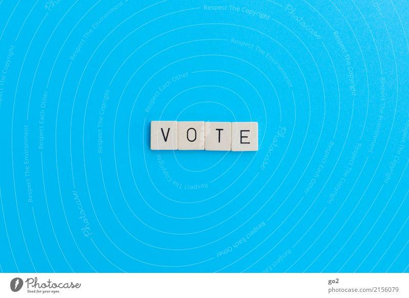 Vote Spielen Brettspiel Schriftzeichen wählen einfach blau Gesellschaft (Soziologie) Leben Problemlösung Politik & Staat Wandel & Veränderung Farbfoto
