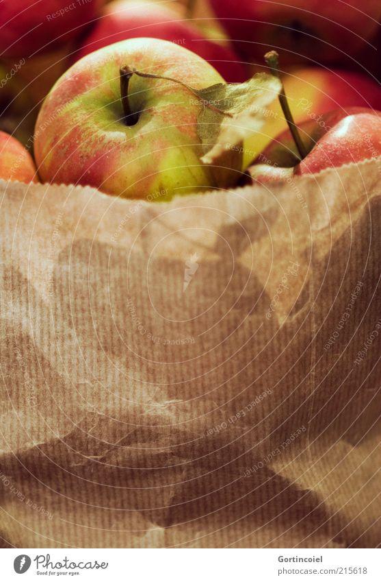 Bio Lebensmittel Frucht Apfel Ernährung Bioprodukte lecker Ernte Tüte Apfelernte Apfelstiel Gesunde Ernährung Gesundheit Farbfoto Innenaufnahme