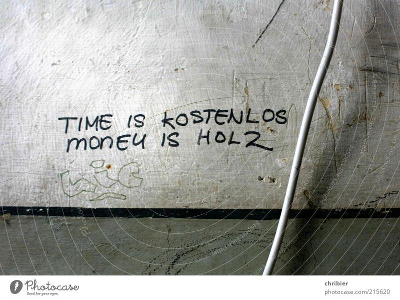 Mangelware ***[HH 10.1]*** Kabel Mauer Wand Schriftzeichen Ziffern & Zahlen Graffiti schreiben dreckig kaputt nah trist grau schwarz weiß bescheiden