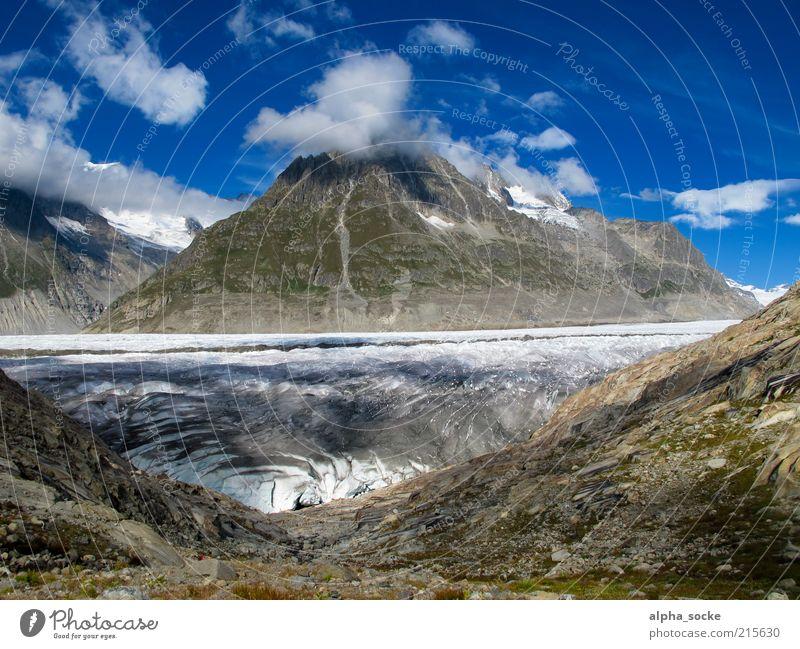 Aletschgletscher Natur Himmel blau Wolken kalt Berge u. Gebirge Freiheit Stein Landschaft braun Umwelt Felsen Wandel & Veränderung Klima einzigartig