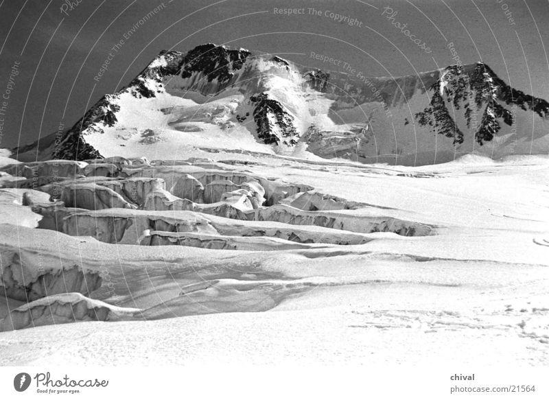 majestätisch Hochgebirge Ötztal Gletscher Gegenlicht Berge u. Gebirge Schwarzweißfoto Schnee Sonne