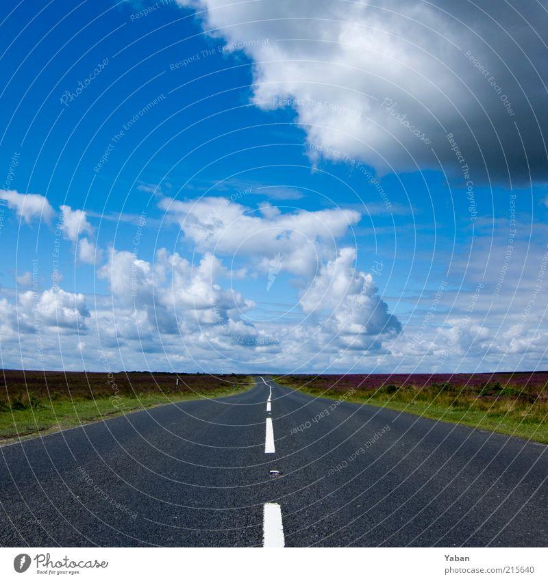 Country Roads Himmel Sommer Wolken Ferne Straße Freiheit Wege & Pfade Feld Wetter Verkehrswege Blauer Himmel Fahrbahnmarkierung