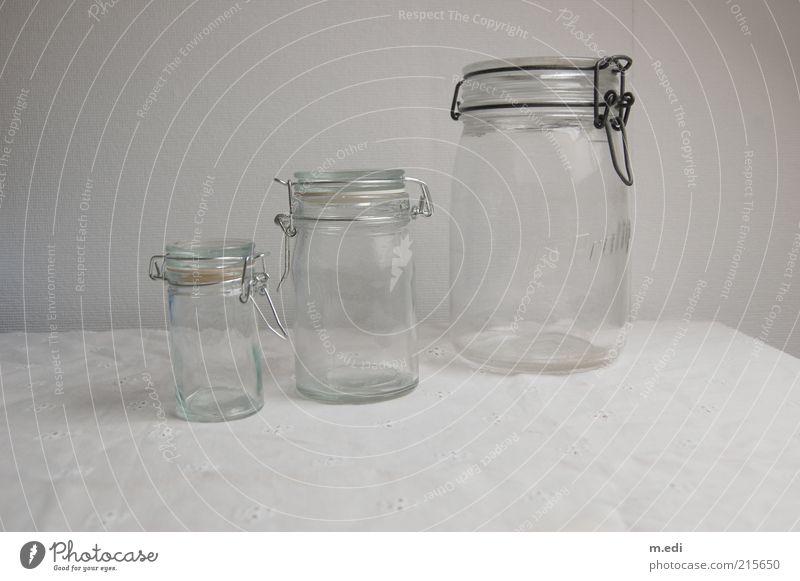einmachgläser Schalen & Schüsseln Verpackung Einmachglas Glas stehen hell weiß ästhetisch Farbfoto Größe klein groß mittelgroß Reflexion & Spiegelung