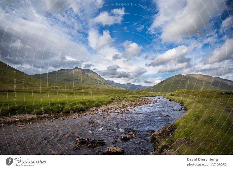 Schottische Highlands Himmel Natur Ferien & Urlaub & Reisen Sommer grün Wasser Landschaft Erholung Wolken Berge u. Gebirge Frühling Herbst Wiese Freiheit Felsen