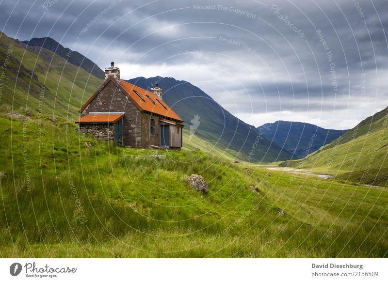 Cottage Himmel Ferien & Urlaub & Reisen Pflanze Sommer Landschaft Erholung Einsamkeit Haus Wolken ruhig Berge u. Gebirge Herbst Frühling Wiese Gras Felsen