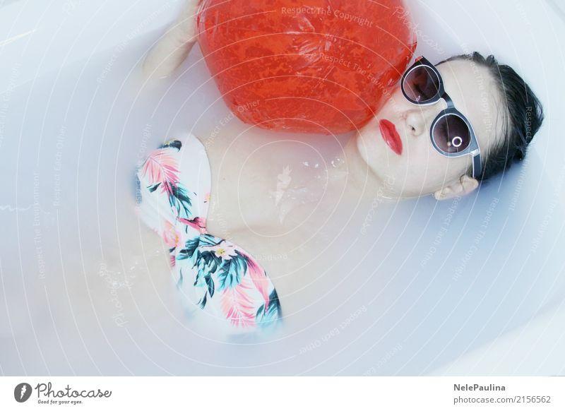 Hawai Girl Lifestyle exotisch schön Haare & Frisuren Haut Gesicht Kosmetik Schminke Lippenstift Zufriedenheit Erholung Junge Frau Jugendliche Kopf Mund