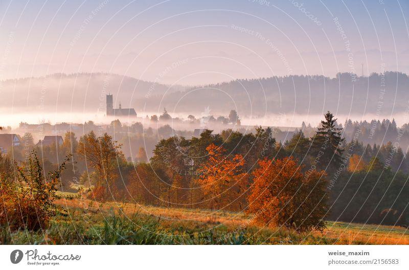 Turm der ländlichen Kirche am bunten Morgen des nebelhaften Herbstes Natur Ferien & Urlaub & Reisen weiß Sonne Baum Landschaft Haus Ferne Wald Berge u. Gebirge
