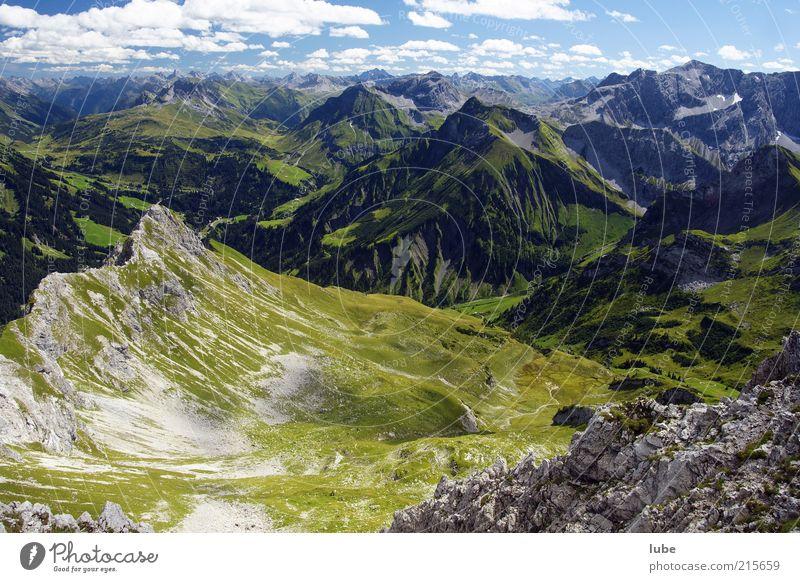 Blick von der Künzelspitze Natur Sommer Berge u. Gebirge Freiheit Landschaft Umwelt Horizont Felsen Klima Alpen Hügel Gipfel Schönes Wetter Alm Österreich