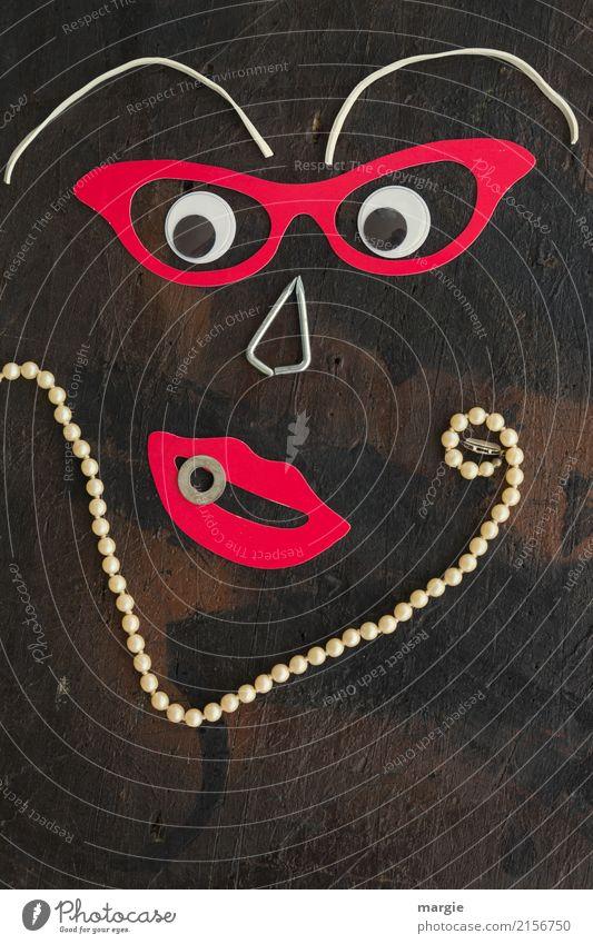 Emotionen...coole Gesichter: Madame Perle! elegant Design exotisch Freude Mensch feminin Frau Erwachsene Mund 1 braun rot Halskette Perlenkette Brille Auge