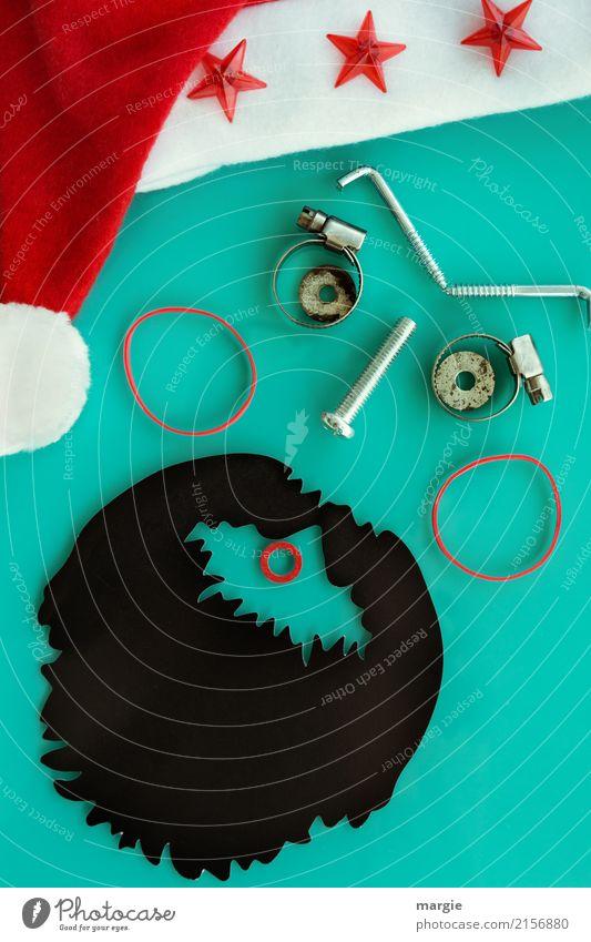 Emotionen...coole Gesichter: Collage Nikolaus, Weihnachtsmann Feste & Feiern Weihnachten & Advent Technik & Technologie Mensch maskulin Mann Erwachsene 1 Mütze