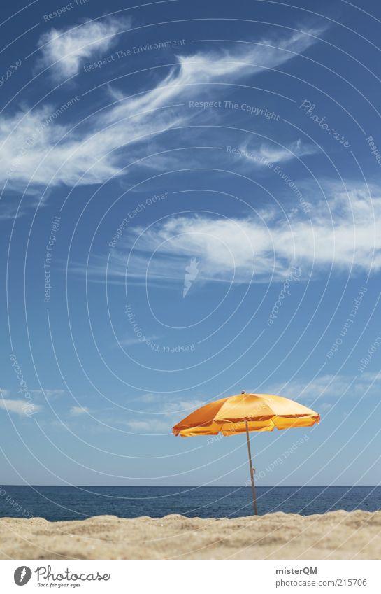 Urlaubsreif? Himmel Meer Sommer Strand Ferien & Urlaub & Reisen gelb Erholung Sand Lifestyle ästhetisch Pause Schutz Zeichen Sonnenschirm Schönes Wetter Schirm