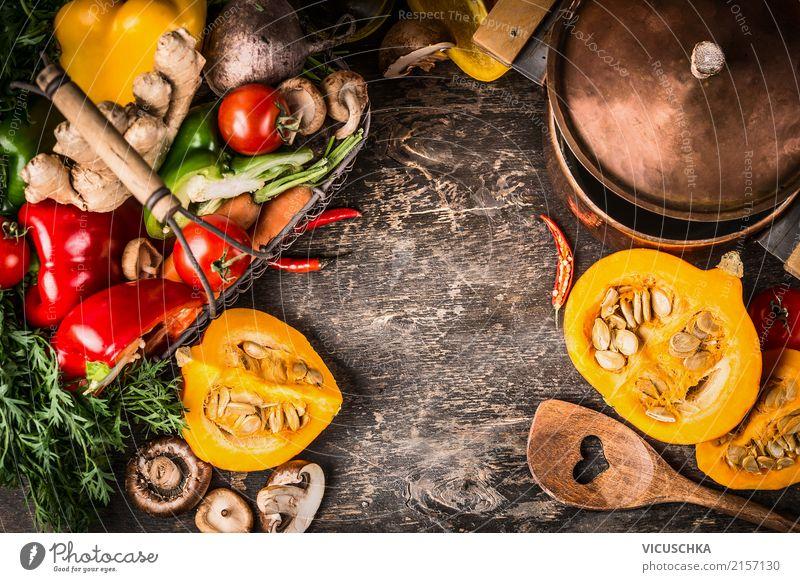 Kürbis Gericht Kochen Lebensmittel Gemüse Ernährung Festessen Topf Löffel Stil Design Gesunde Ernährung Tisch Küche Restaurant Erntedankfest Mauer Wand