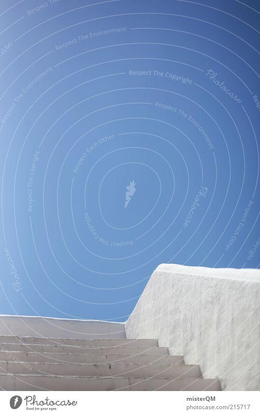 Das Blaue vom Himmel. Gebäude Architektur ästhetisch Zufriedenheit Horizont Klima ruhig Treppe Terrasse blau weiß Blauer Himmel Geländer Mittelmeer mediterran