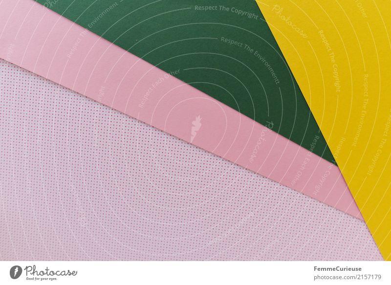Muster (01) Dekoration & Verzierung mehrfarbig rosa dunkelgrün gelb gepunktet Design Geometrie Rechteck Dreieck Karton Bastelmaterial Farbfoto Innenaufnahme