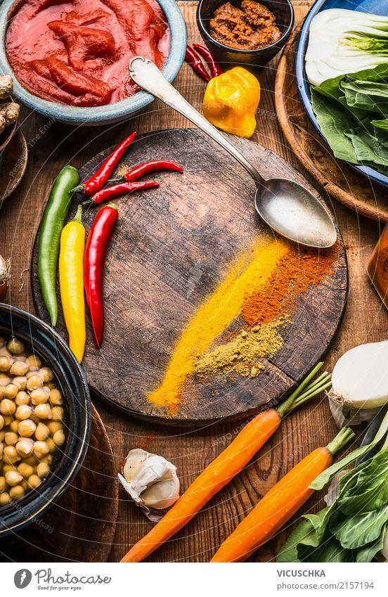 Vegetarische Kochzutaten mit Gewürze Gesunde Ernährung Foodfotografie Leben gelb Gesundheit Stil Lebensmittel Design Tisch Kräuter & Gewürze Küche Gemüse